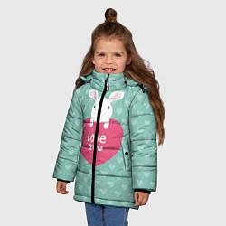 Детская зимняя куртка для девочки с принтом Rabbit: Love you, цвет: 3D-черный, артикул: 10081990706065 — фото 2