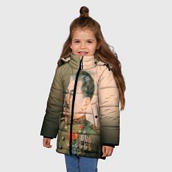 Детская зимняя куртка для девочки с принтом Иосиф Сталин, цвет: 3D-черный, артикул: 10082407706065 — фото 2