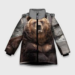 Куртка зимняя для девочки Русский медведь цвета 3D-черный — фото 1