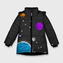 Куртка зимняя для девочки Космос цвета 3D-черный — фото 1