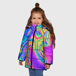 Детская зимняя куртка для девочки с принтом Цветные разводы, цвет: 3D-черный, артикул: 10086773306065 — фото 2