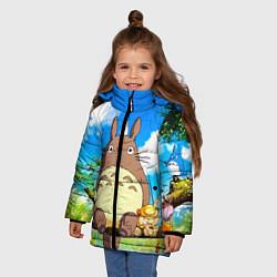 Куртка зимняя для девочки Тоторо и компания цвета 3D-черный — фото 2