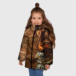 Куртка зимняя для девочки Рыбацкий стол цвета 3D-черный — фото 2