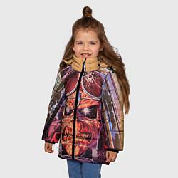Детская зимняя куртка для девочки с принтом Iron Maiden: Dead Rider, цвет: 3D-черный, артикул: 10089879806065 — фото 2