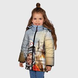 Куртка зимняя для девочки Гагарин взлетает цвета 3D-черный — фото 2