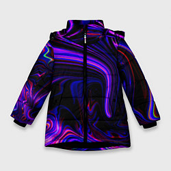 Куртка зимняя для девочки Цветные разводы цвета 3D-черный — фото 1