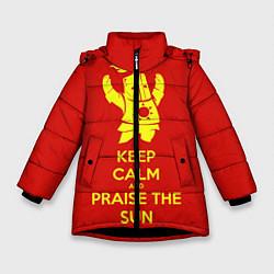 Куртка зимняя для девочки Keep Calm & Praise The Sun цвета 3D-черный — фото 1