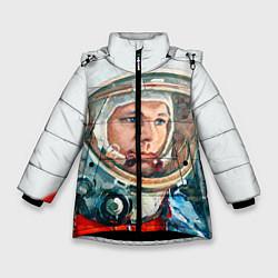 Детская зимняя куртка для девочки с принтом Гагарин в полете, цвет: 3D-черный, артикул: 10092034406065 — фото 1