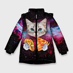 Куртка зимняя для девочки Кот с едой цвета 3D-черный — фото 1