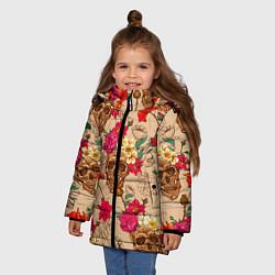 Куртка зимняя для девочки Черепа в цветах цвета 3D-черный — фото 2