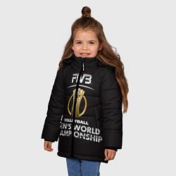 Куртка зимняя для девочки Волейбол 93 цвета 3D-черный — фото 2