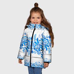 Куртка зимняя для девочки Гжель цвета 3D-черный — фото 2