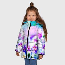 Куртка зимняя для девочки Цветочное поле цвета 3D-черный — фото 2