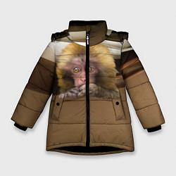 Детская зимняя куртка для девочки с принтом Мартышка, цвет: 3D-черный, артикул: 10096243406065 — фото 1