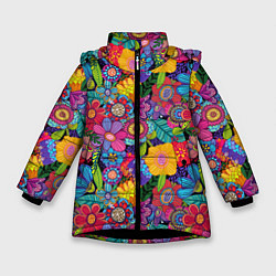 Куртка зимняя для девочки Яркие цветы цвета 3D-черный — фото 1