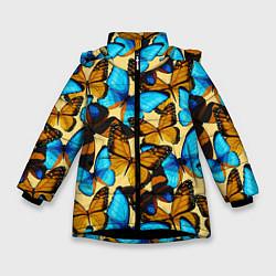 Куртка зимняя для девочки Бабочки цвета 3D-черный — фото 1