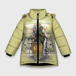 Детская зимняя куртка для девочки с принтом Имперская русь, цвет: 3D-черный, артикул: 10096755806065 — фото 1