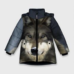 Куртка зимняя для девочки Зимний волк цвета 3D-черный — фото 1