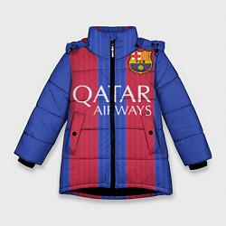 Куртка зимняя для девочки Barcelona: Qatar Airways цвета 3D-черный — фото 1
