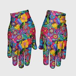 Перчатки Яркие цветы цвета 3D — фото 1