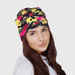 Шапка Камуфляж: желтый/черный/розовый цвета 3D — фото 2