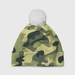 Шапка с помпоном Камуфляж: зеленый/хаки цвета 3D-белый — фото 1