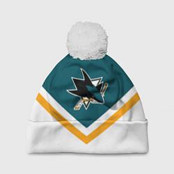 Шапка с помпоном NHL: San Jose Sharks цвета 3D-белый — фото 1