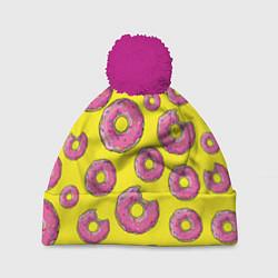 Шапка с помпоном Пончики Гомера цвета 3D-малиновый — фото 1