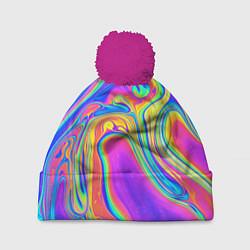 Шапка с помпоном Цветные разводы цвета 3D-малиновый — фото 1