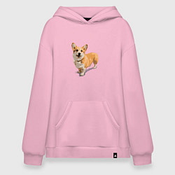 Толстовка-худи оверсайз Собака цвета светло-розовый — фото 1