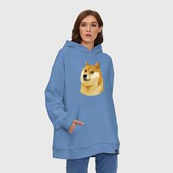 Толстовка-худи оверсайз Doge цвета мягкое небо — фото 2