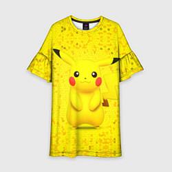 Платье клеш для девочки Pikachu цвета 3D — фото 1