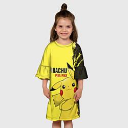 Платье клеш для девочки Pikachu Pika Pika цвета 3D — фото 2