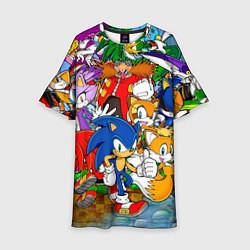 Платье клеш для девочки Sonic Stories цвета 3D-принт — фото 1