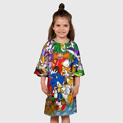 Платье клеш для девочки Sonic Stories цвета 3D-принт — фото 2