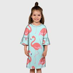 Платье клеш для девочки Розовые фламинго цвета 3D-принт — фото 2