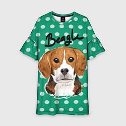 Платье клеш для девочки Beagle Face цвета 3D-принт — фото 1