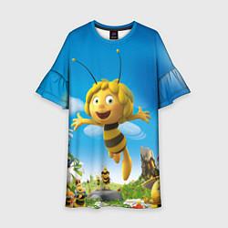 Платье клеш для девочки Пчелка Майя цвета 3D-принт — фото 1