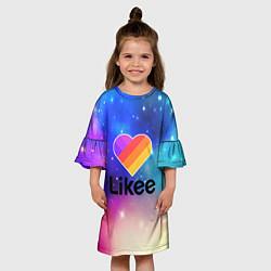Платье клеш для девочки LIKEE:ПРИЛОЖЕНИЕ цвета 3D — фото 2