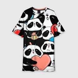 Платье клеш для девочки Панды цвета 3D — фото 1