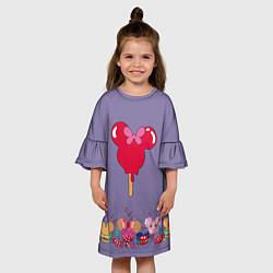 Платье клеш для девочки Минни Маус Мороженое цвета 3D — фото 2