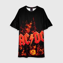 Платье клеш для девочки AC/DC Flame цвета 3D-принт — фото 1