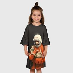 Платье клеш для девочки Гагарин с лайкой цвета 3D-принт — фото 2