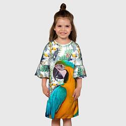 Платье клеш для девочки Летний попугай цвета 3D — фото 2