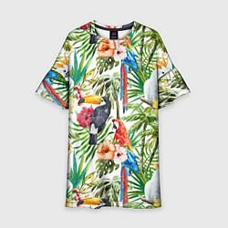 Платье клеш для девочки Попугаи в тропиках цвета 3D-принт — фото 1