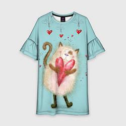Платье клеш для девочки Котик цвета 3D — фото 1