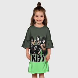Платье клеш для девочки Kiss цвета 3D-принт — фото 2