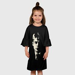 Платье клеш для девочки Есенин Ч/Б цвета 3D — фото 2