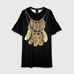 Платье клеш для девочки Золотые перья цвета 3D — фото 1