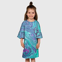 Платье клеш для девочки Смесь красок цвета 3D-принт — фото 2